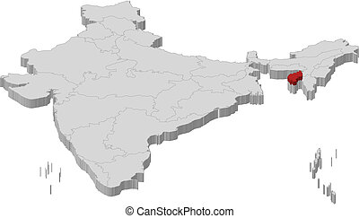 Map Tripura India Map Of Tripura A Province Of India Eps - India map vector