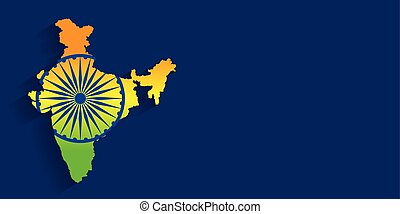 map of india with flag tricolor background