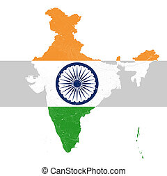 Map of India with rivers and lakes in colors of the national...