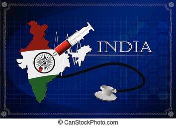 Map of India with Stethoscope and syringe.