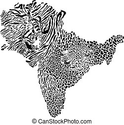 Map of Indian subcontinent with tiger and leopard background
