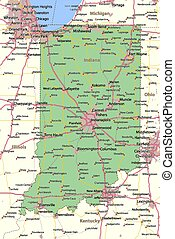 Indiana - Map of Indiana. Shows state borders, urban areas, ...