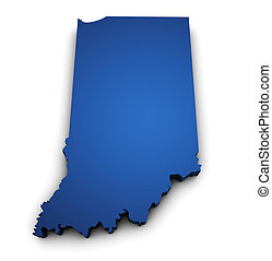 Map Of Indiana State 3d Shape