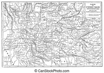 Map of Indo-China, vintage engraving. - Map of Indo-China, ...