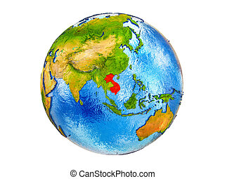 Map of Indochina on 3D Earth isolated - Indochina on 3D ...