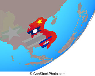 Map of Indochina with flag on globe - Indochina with ...