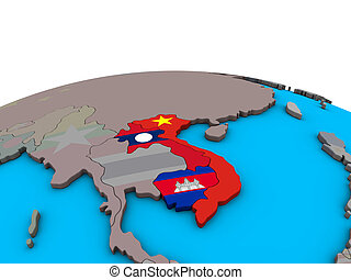 Map of Indochina with flags on globe - Indochina with ...