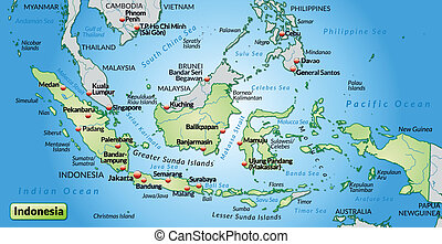 Map of Indonesia as an overview map in pastel green