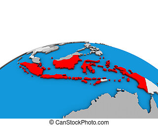 Map of Indonesia on 3D globe