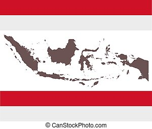 Map of Indonesia on background with flag