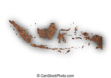 Map of Indonesia on rusty metal