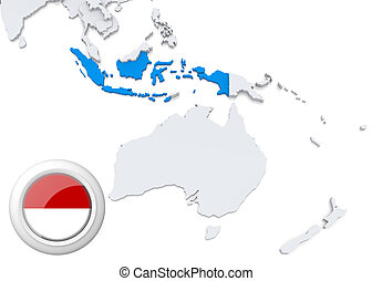 Map of Indonesia with national flag