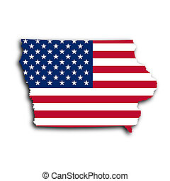 Map of Iowa, filled with the national flag