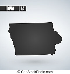 Map of Iowa Vector Illustration isolated on white background.