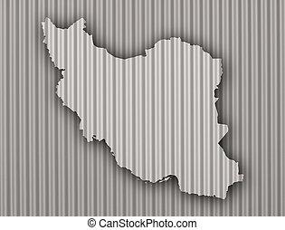 Map of Iran on corrugated iron