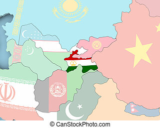 Map of Iran with flag on globe