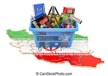Map of Iran with shopping basket full of home and kitchen appliances, 3D rendering