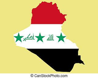 map of Iraq and Iraqi flag