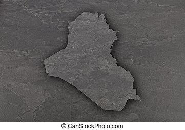 Map of Iraq on dark slate