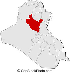 Map of Iraq, Salah ad Din highlighted