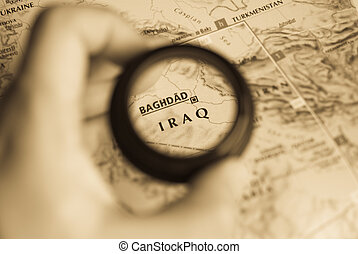 Map of Iraq - Selective focus on antique map of Iraq