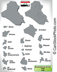 Map of Iraq with borders in gray