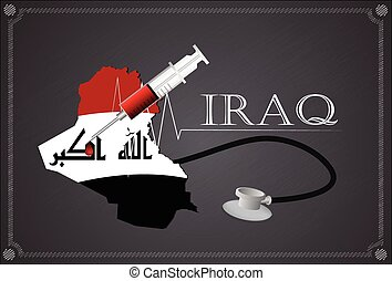 Map of Iraq with Stethoscope and syringe.
