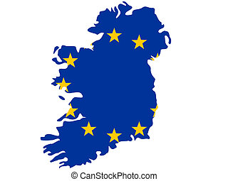 map of Ireland and european union flag illustration