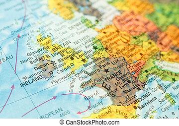 map of Ireland close-up