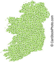 Map of Ireland - Europe - in a mosaic of green squares