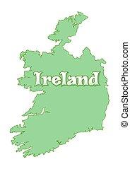 Map of Ireland. Green Ireland map isolated on white background