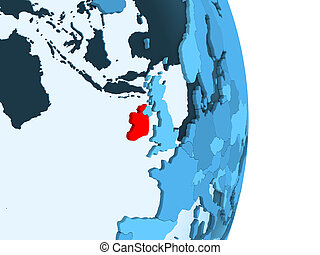 Map of Ireland in red