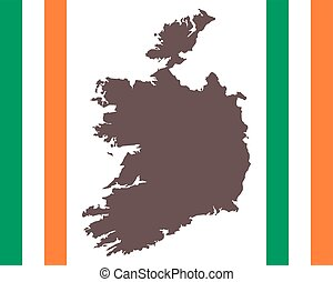 Map of Ireland on background with flag