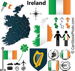 Map of Ireland with regions - Vector set of Ireland country...