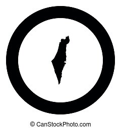 Map of Israel icon black color in round circle vector...