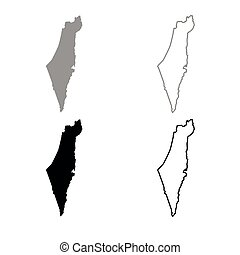Map of Israel icon outline set grey black color - Map of...
