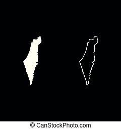 Map of Israel icon set white color illustration flat style...