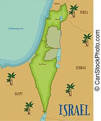 Map of Israel in cartoon style.