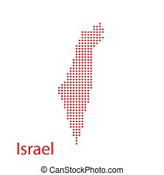 map of Israel in the hearts vector