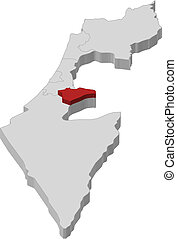 Map of Israel, Jerusalem highlighted