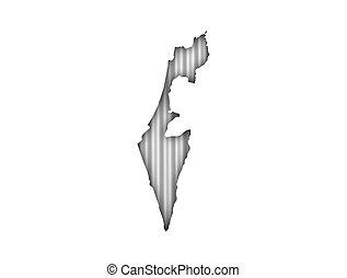 Map of Israel on corrugated iron