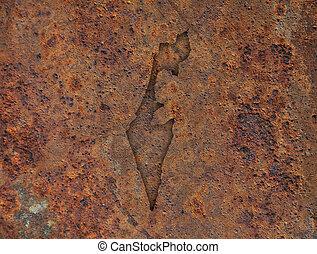 Map of Israel on rusty metal