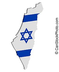 Map of Israel with flag 3d vector illustration