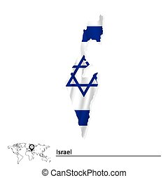 Map of Israel with flag