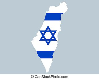 Map of Israel with flag vector illustration