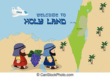 Map of Israel with two spies, Welcome to Holy Land
