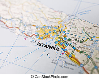 Close up of istanbul ,turkey map with red pin - travel concept.