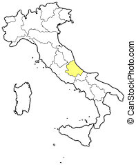 Map of Italy, Abruzzo highlighted