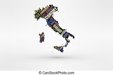 Map of Italy and Sardinia . Theme of economy and global finance. Hi-tech technology as cloud computing, services, business, small companies, hr costs, time use and others.