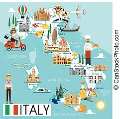 Map of Italy and Travel Icons. Italy Travel Map. Vector Illustration.